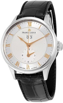 Maurice Lacroix Masterpiece Tradition Silver Dial Black Leather Men's Watch