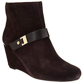 Isaac Mizrahi Live! Suede Wedge Ankle Bootsw/ Strap Detail