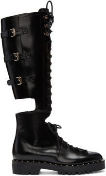 Valentino Black Garavani Soul Rockstud Knee-High Military Boots