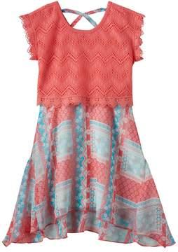 Nannette Girls 4-6x Nanette Lace Overlay Printed Dress