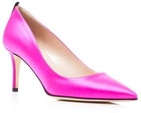Sarah Jessica Parker Fawn Satin Mid Heel Pumps