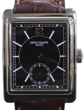 Patek Philippe Gondolo 5010 18K White Gold / Leather 25mm Mens Watch