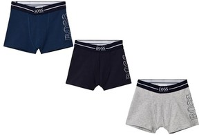 BOSS 3 Pack of Blue, Navy and Grey Branded Boxers