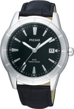 Pulsar Mens Black Leather Strap Watch PXH839X
