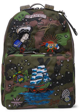 Valentino Embellished Leather-Trimmed Camouflage-Print Canvas Backpack