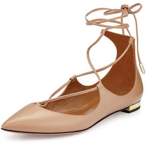 Aquazzura Christy Lace-Up Pointed-Toe Flat, Biscotto