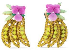 Elizabeth Cole Gold-Tone Crystal Stone And Enamel Earrings