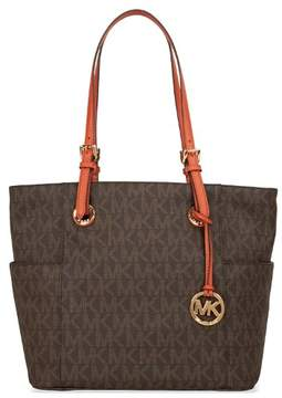 MICHAEL Michael Kors Jet Set Logo Tote - BROWN LOGO / ORANGE - STYLE