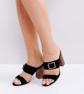 New Look Wide Fit Buckle Heeled Mule Sandals