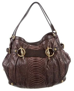 Gucci Python Medium Jockey Tote - BROWN - STYLE