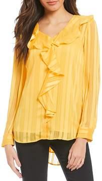 Isaac Mizrahi Imnyc IMNYC V-Neck Ruffle Long Sleeve Blouse