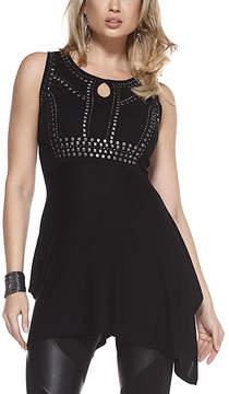 Belldini Black Embellished Sidetail Tunic - Women