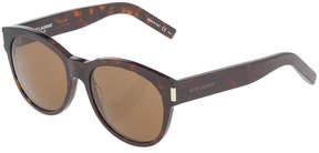 Saint Laurent Tortoiseshell Round Plastic Sunglasses, Dark Havana