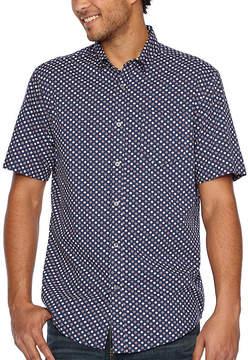Claiborne Short Sleeve Medallion Button-Front Shirt