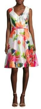 David Meister Floral Dance Sleeveless Dress