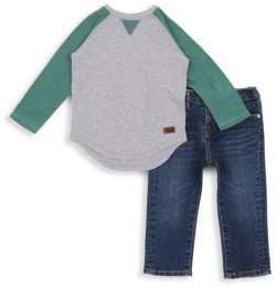 7 For All Mankind Toddler's & Little Boy's Two-Piece Raglan Long Sleeve Shirt and Denim Pants