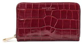 Aspinal of London Midi Continental Clutch Zip Wallet In Deep Shine Bordeaux Croc