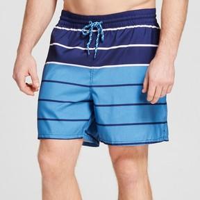 Merona Men's Big & Tall Stripe Swim Trunk Blue