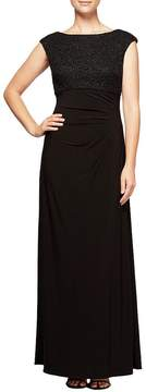 Alex Evenings Soutache Boat-Neck Cowl-Back Cap Sleeve Ruched Gown