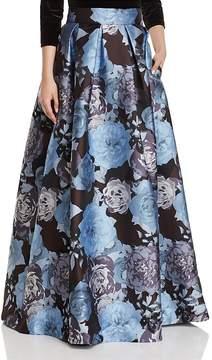Eliza J Pleated Floral-Print Ball Skirt