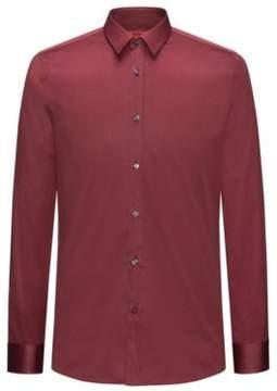 HUGO Boss Two-Ply Cotton Dress Shirt, Extra Slim Fit Elisha 15.5 Dark Red