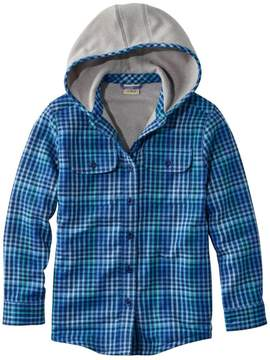 L.L. Bean L.L.Bean Girls' Fleece-Lined Flannel Shirt, Hooded Plaid