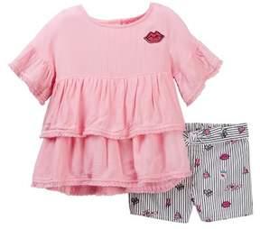 Betsey Johnson Ruffle Gauze Top & Printed Shorts Set (Little Girls)