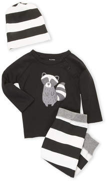 Petit Lem Infant Girls) 3-Piece Raccoon Top & Stripe Pants Set