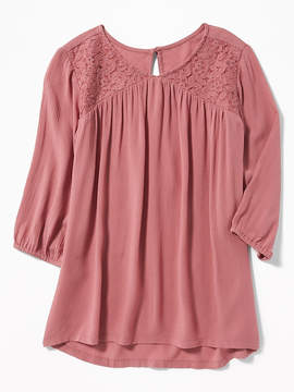 Old Navy Lace-Yoke Swing Blouse for Girls