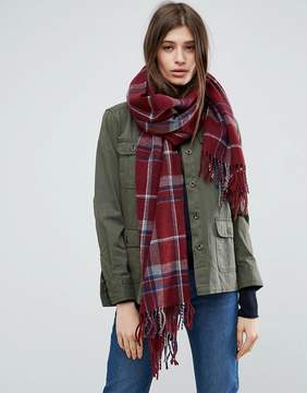 Asos Long Burgundy Check Scarf With Tassels