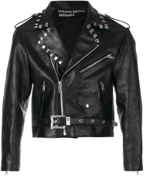 Enfants Riches Deprimes cropped stud detail biker jacket