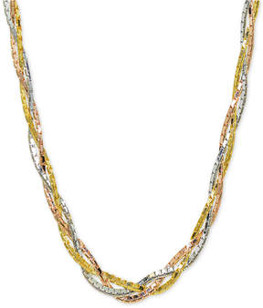 Giani Bernini Tricolor Braided 18 Collar Necklace in Sterling Silver, 18k Gold-Plate & 18k Rose Gold-Plate, Created for Macy's