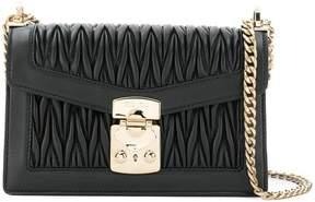 Miu Miu black matelassé leather shoulder bag