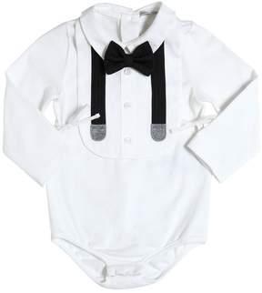 Dolce & Gabbana Cotton Jersey Bodysuit & Poplin Bib