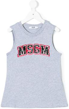 MSGM sequin logo tank top