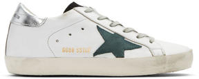 Golden Goose Deluxe Brand White and Green Superstar Sneakers
