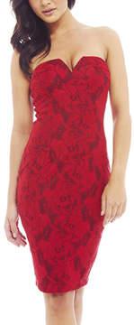 AX Paris Red Lace Plunge Strapless Dress - Women