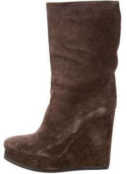Jil Sander Suede Wedge Ankle Boots