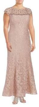 Xscape Evenings Plus Beaded Lace Gown