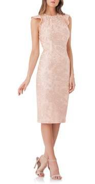Carmen Marc Valvo Back Cutout Lace Sheath Dress