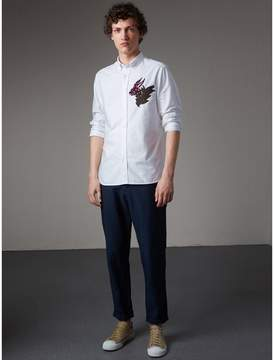 Burberry Button-down Collar Beasts Motif Cotton Oxford Shirt