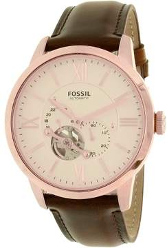 Fossil Men's Townsman ME3105 Rose Gold Leather Automatic Dress Watch