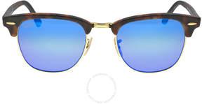 Ray-Ban Classic Clubmaster Blue Flash Lenses Tortoise-shell Plastic Frame Men's Sunglasses RB3016-51-114517