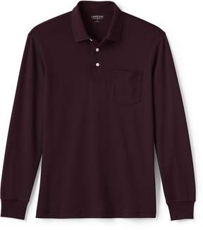 Lands' End Lands'end Men's Supima Long Sleeve Polo Shirt with Pocket