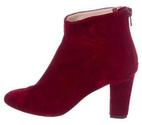 Sarah Jessica Parker Velvet Round-Toe Ankle Boots