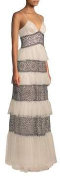 BCBGMAXAZRIA Layered Lace Gown