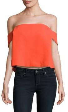 C/Meo Those Eyes Cropped Off-The-Shoulder Top