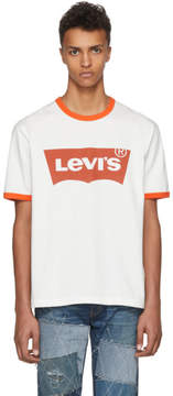 Junya Watanabe Off-White and Orange Levis Edition Logo T-Shirt