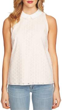 CeCe Ditsy Cotton Eyelet Collared Blouse