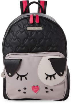 Betsey Johnson Black & Fuchsia Kitch Dog Backpack